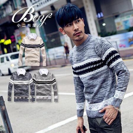 ☆BOY-2☆【PPK86034】混色圖騰圓領針織長袖上衣 0