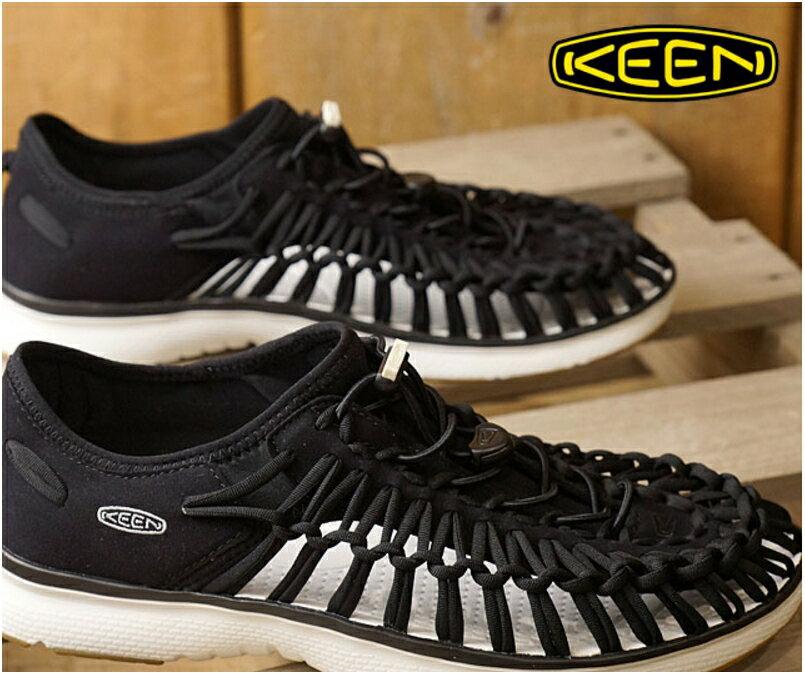 ├登山樂┤美國 KEEN UNEEK O2 男款拉繩編織鞋-黑/白 # 1017050