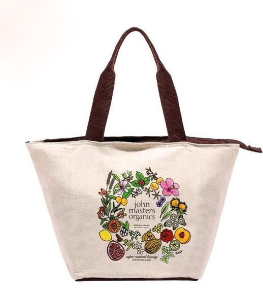小熊日系* 花蔬果 拉鍊 手提 小提袋 帆布 便當包 手提包 收納包 午餐袋