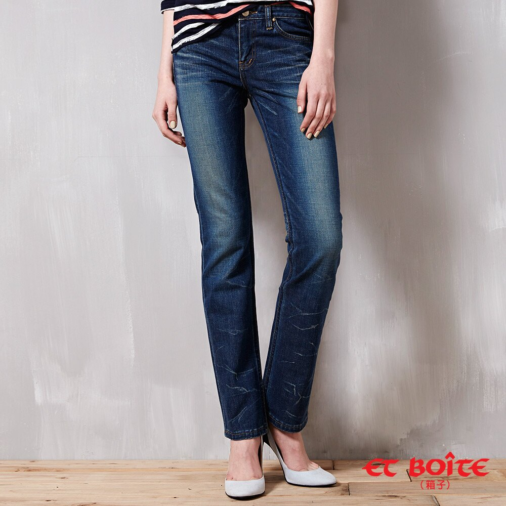 折痕低腰窄直筒褲 - BLUE WAY  ET BOiTE 箱子 1