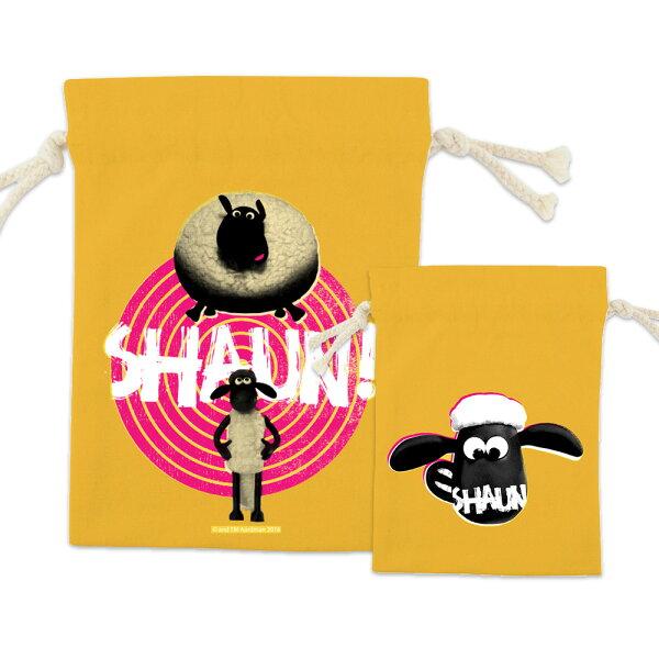 【笑笑羊】彩色束口袋-黑膠唱盤(黃)