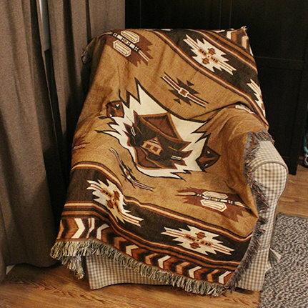 美式鄉村波西米亞民族風線毯針織地毯休閒蓋毯沙發巾沙發毯復古/單售
