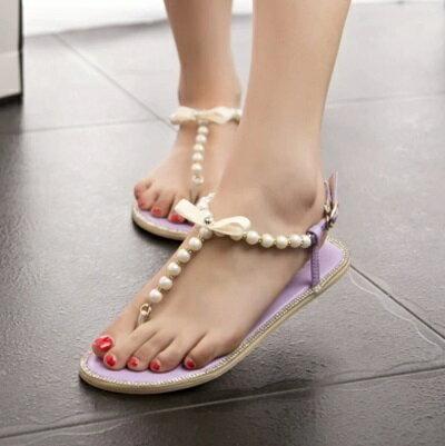 ~平底鞋珍珠羅馬涼鞋~ 優雅名媛風T字帶女鞋子2色73ey16~ ~~米蘭 ~