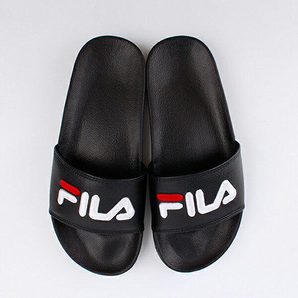 Shoestw【4-S313T-021】FILA 拖鞋 韓版 潮拖 電繡 大LOGO 棉內襯 黑色 男女尺寸都有 0