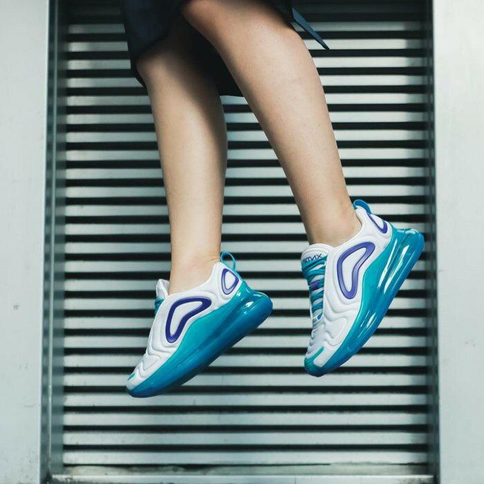 【日本海外代購】NIKE WMNS AIR MAX 720 全氣墊 慢跑 休閒 白色 湖水藍 紫 男鞋AR9293-100