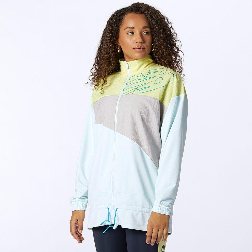 【領券最高折$300】New Balance 女裝 外套 慢跑 拼接 排汗 LOGO 黃 灰 藍【運動世界】WJ11150WJ