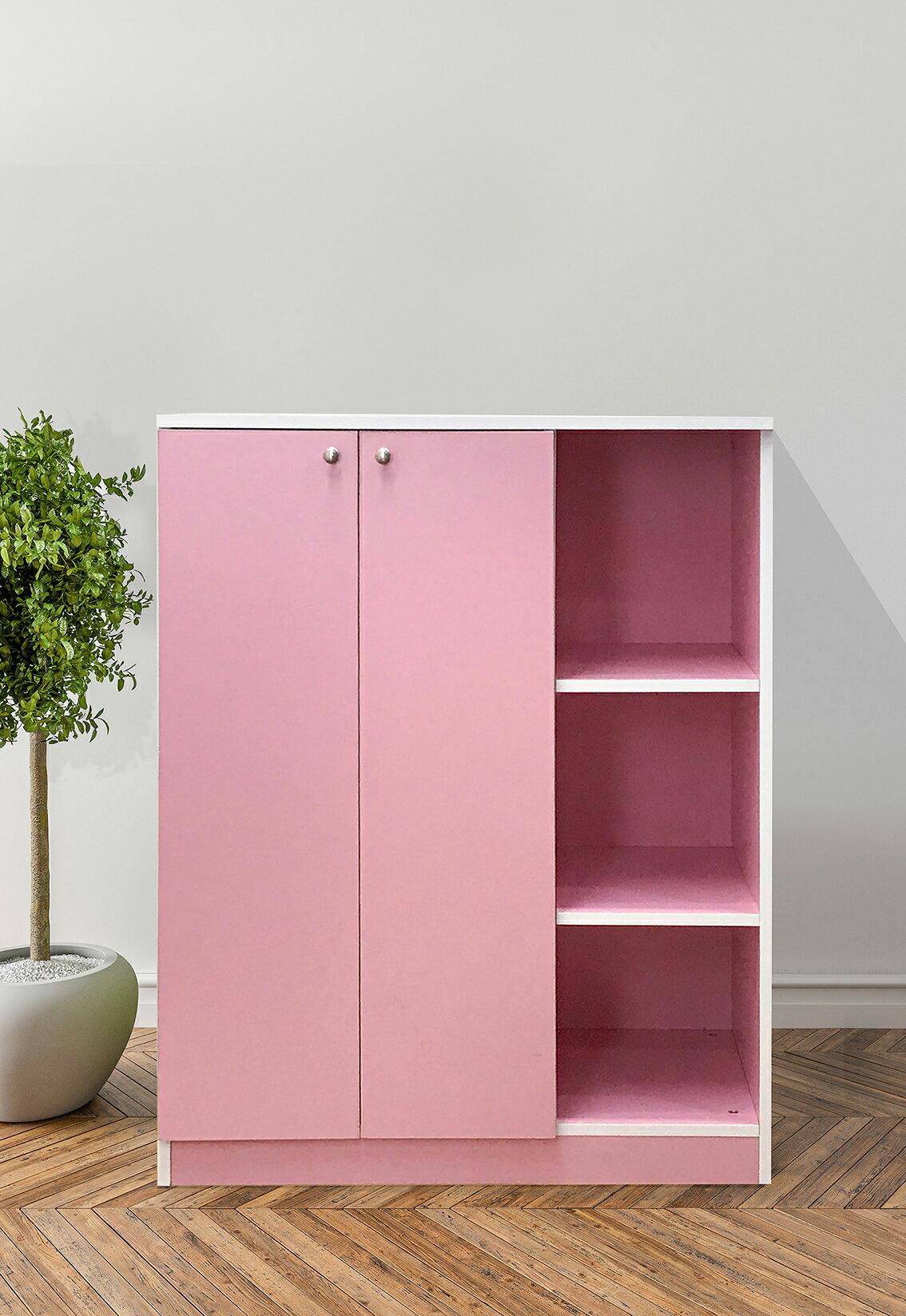 〔易宥家具〕DIY粉色雙門衣櫃