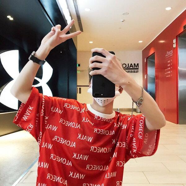FINDSENSEG6韓國時尚男士港風字母印花短袖T恤潮男寬鬆半袖體T恤