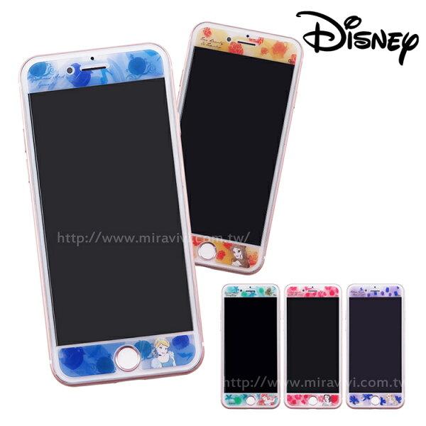 Miravivi:Disney迪士尼iPhone66s78(4.7)共用水彩渲染9H強化玻璃保護貼_公主
