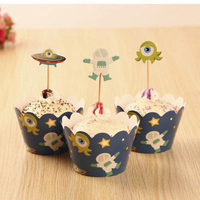 =優生活=烘焙包裝紙杯蛋糕 蛋糕裝飾 插牌圍邊+插牌裝飾 派對用品 兒童生日 彌月蛋糕 收綖蛋糕【可愛怪物】