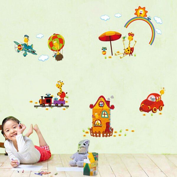 BO雜貨【YV4411】創意可移動壁貼 牆貼 壁貼 背景貼 時尚組合壁貼 歡樂動物園 居家裝飾
