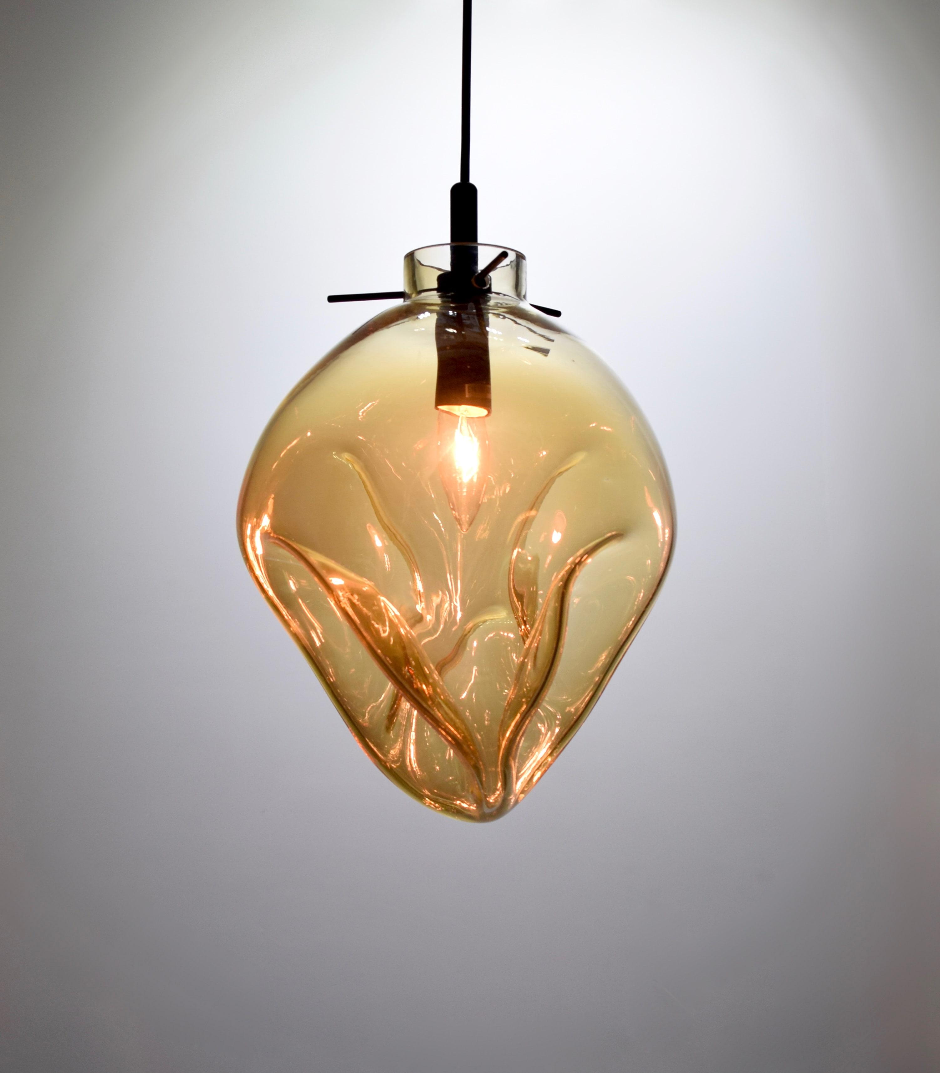 手工吹製琥珀色玻璃吊燈-BNL00114 2