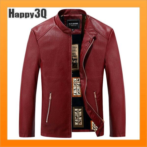 Happy Happy:修身外套皮外套羊皮夾克立領時尚騎機車外套休閒加大外套大尺碼夾克-多色M-3XL【AAA3453】