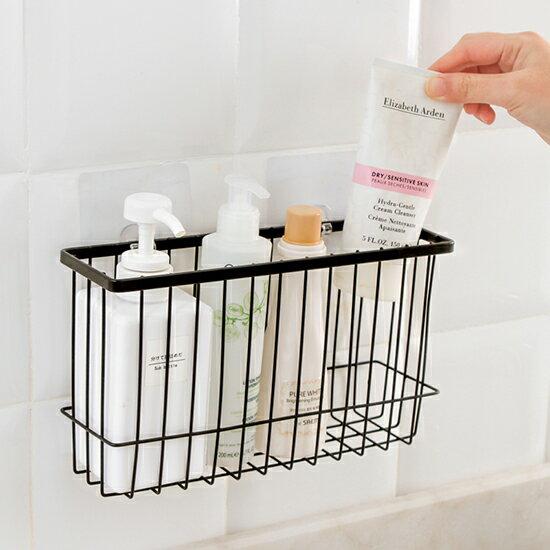 ♚MY COLOR♚鐵藝浴室收納籃 廚房 鐵藝噴漆 置物籃 簡約 置物架 調味料架 儲物筐