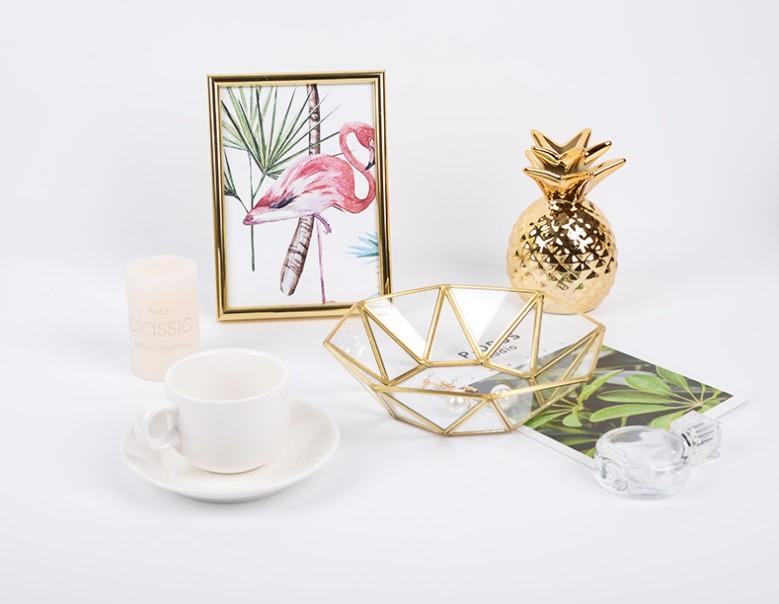 八角玻璃收納盤【SG474】金色托盤 簡約首飾化妝品擺件 首飾收納 北歐ins 復古 首飾盒