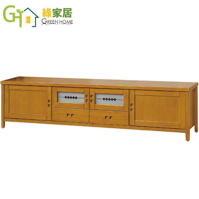 【綠家居】胡納 檜木紋7尺實木收納櫃/電視櫃(二抽屜+四門櫃設計)