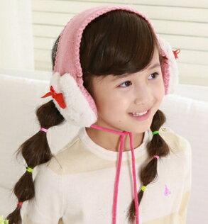 Kocotree◆ 可愛毛茸茸小熊兔子兒童毛球綁繩毛線舒適保暖耳罩~粉色小兔