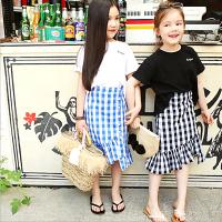 Q嫩童裝 中大女童春夏新款韓版時尚短T+魚尾裙套裝(親子裝) AML009-Q嫩童裝-親子特惠商品