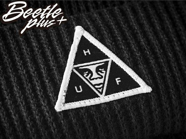 BEETLE PLUS 西門町經銷 全新 美國品牌 HUF X OBEY BEANIE 人臉標 反摺 黑 素面 百搭 經典 毛帽 針織帽 100030089BLK OB-377 1