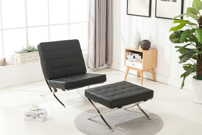 mcombo mcombo balcony lounge chair ottoman faux leather leisure