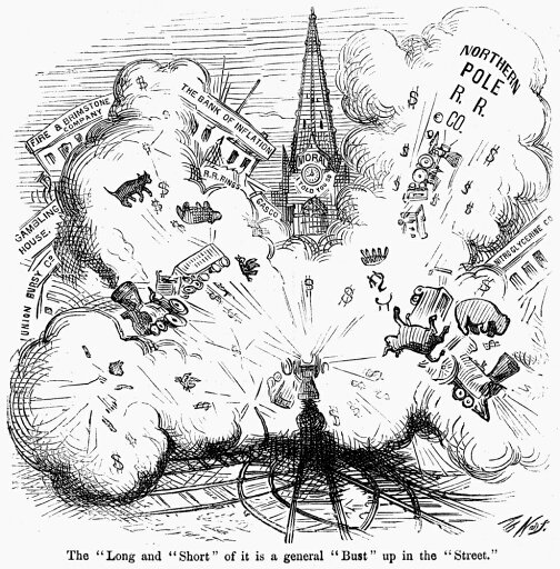 Cartoon Bank Panic 1873 NThe Long And Short Of It Is A General Bust Up In The Street Cartoon Comment On Wall StreetS Black Friday 19 September 1873 Caused By The Bankruptcy Of Government Bond Agent Ja cb6d988aeb279a57a3d7a62dfb4b70a7