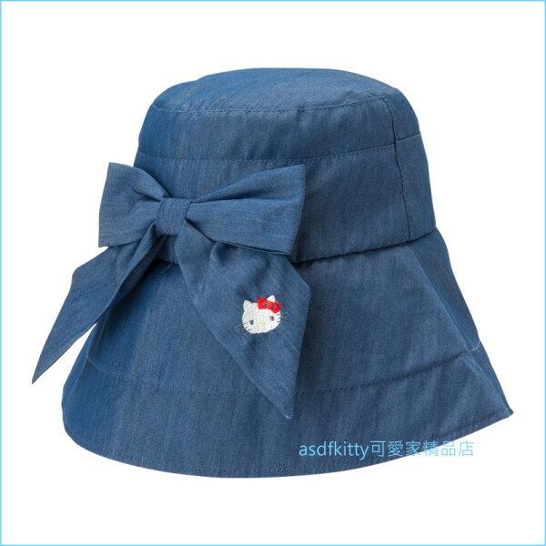 asdfkitty可愛家☆KITTY藍色牛仔蝴蝶結可折疊遮陽帽漁夫帽-日本正版商品