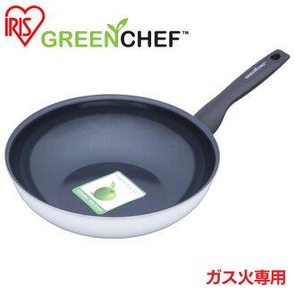 日本直送 免運/代購-日本IRIS OHYAMA/GREEN CHEF/鑽石塗層陶瓷鍋/瓦斯爐專用款/平底煎鍋/GC-SW-28G/28公分/527476