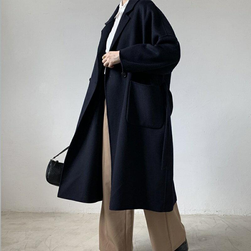 毛呢大衣羊毛外套-藍色綁帶寬鬆長版女外套73wb37【獨家進口】【米蘭精品】 0