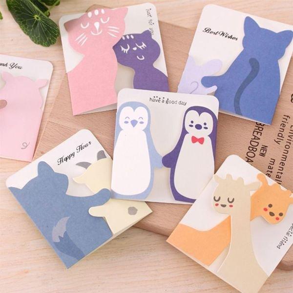 =優生活=韓國文具和你一起溫馨小動物賀卡 節日祝福禮物感謝表白卡片