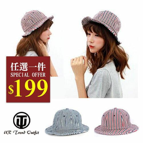 帽子【UTO】條紋圓頂休閒漁夫帽遮陽帽 (現+預)