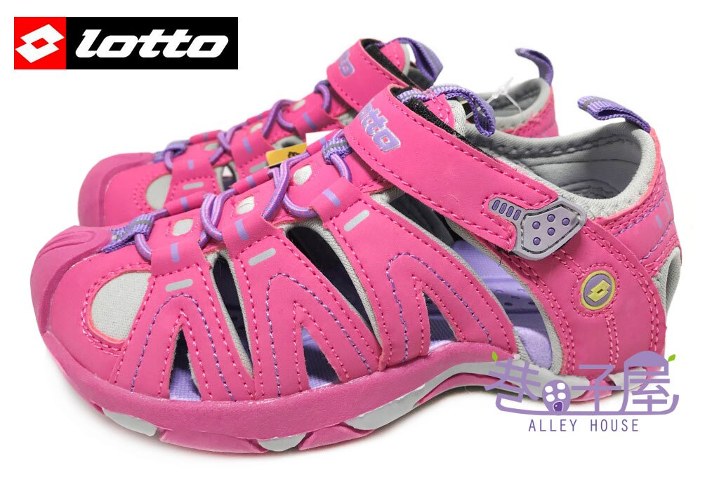 【巷子屋】義大利第一品牌-LOTTO樂得 女童五大機能護趾運動涼鞋 [2377] 粉紫 超值價$398