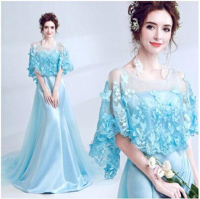 天使嫁衣:天使嫁衣【AE2606】水藍色網紗蕾絲披肩緞面質感修身拖尾晚禮服˙預購訂製款