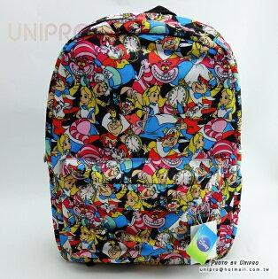 【UNIPRO】日貨愛麗絲夢遊仙境AliceWonderLand亂花版後背包雙肩包迪士尼正版授權