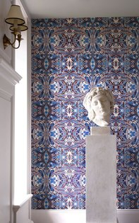 藍色對稱圖案抽象畫英國壁紙SUSIBELLAMYOrangeFeathered一套6卷
