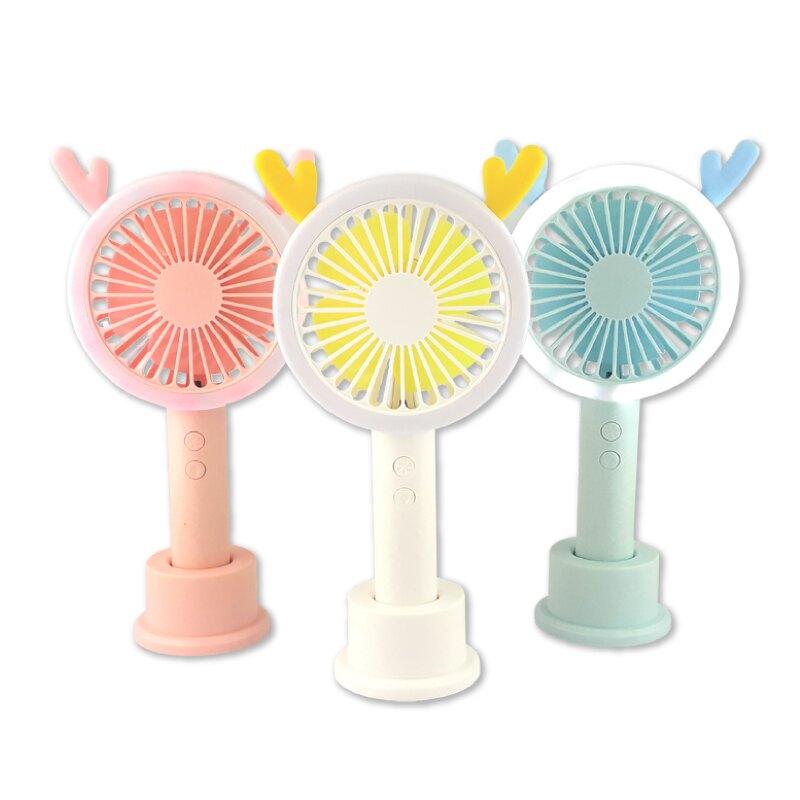 鹿角造型手持風扇 攜帶風扇 桌上風扇 迷你風扇 懶人風扇 小風扇 3合1充電式涼風扇