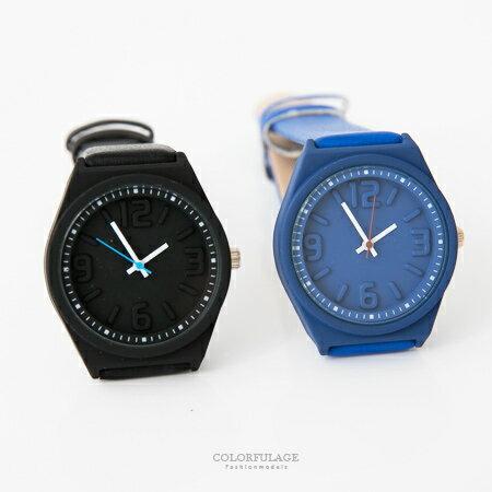 手錶 個性立體浮雕數字腕錶 中性款不分男女 質感皮革錶帶 柒彩年代【NE1651】