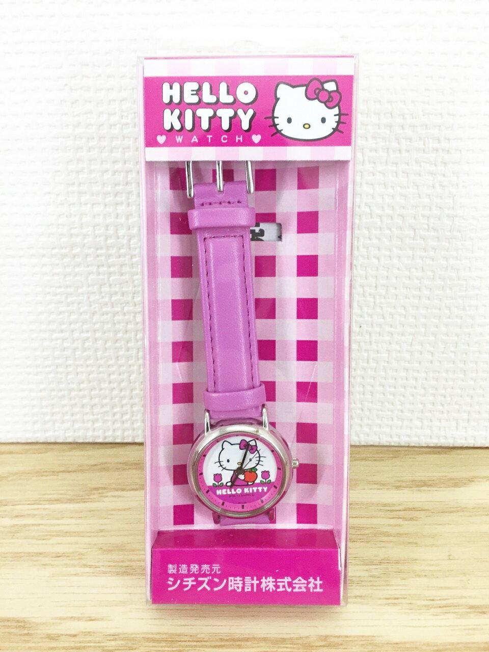 【真愛日本】16012200005 桃皮革帶錶-銀圓坐姿鬱金香抱蘋果 KITTY 凱蒂貓 三麗鷗 手錶 錶飾 卡通錶