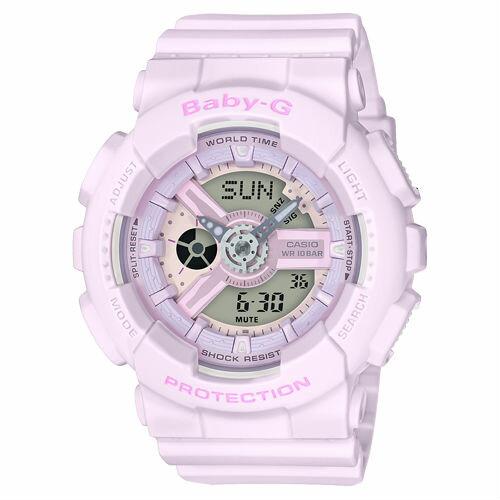 CASIOBABY-GBA-110-4A2粉嫩花朵少女雙顯流行腕錶