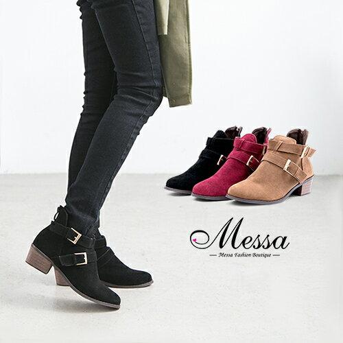 【Messa米莎專櫃女鞋】個性時尚仿麂皮雙扣後拉鍊低跟短靴-三色