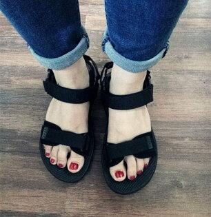 Pyf♥情侶潮鞋運動風魔鬼氈涼鞋混搭襪子舒適輕鬆34-43大尺碼涼鞋
