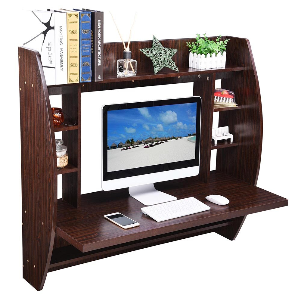 Wall Mounted Floating Computer Desk with Storage Shelves Laptop Home Office Furniture Black Walnut 5