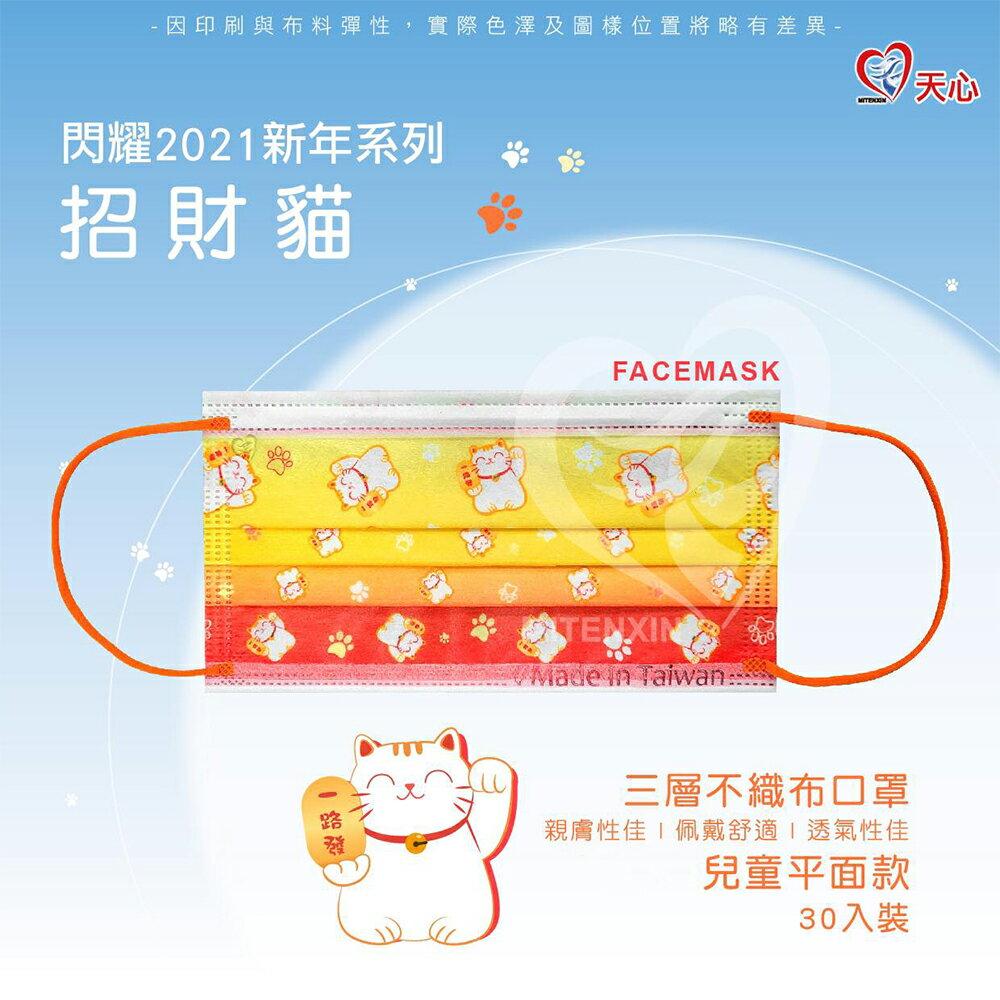 Tenxin 台灣天心 三層不織布口罩 (兒童平面款 30入/盒裝)