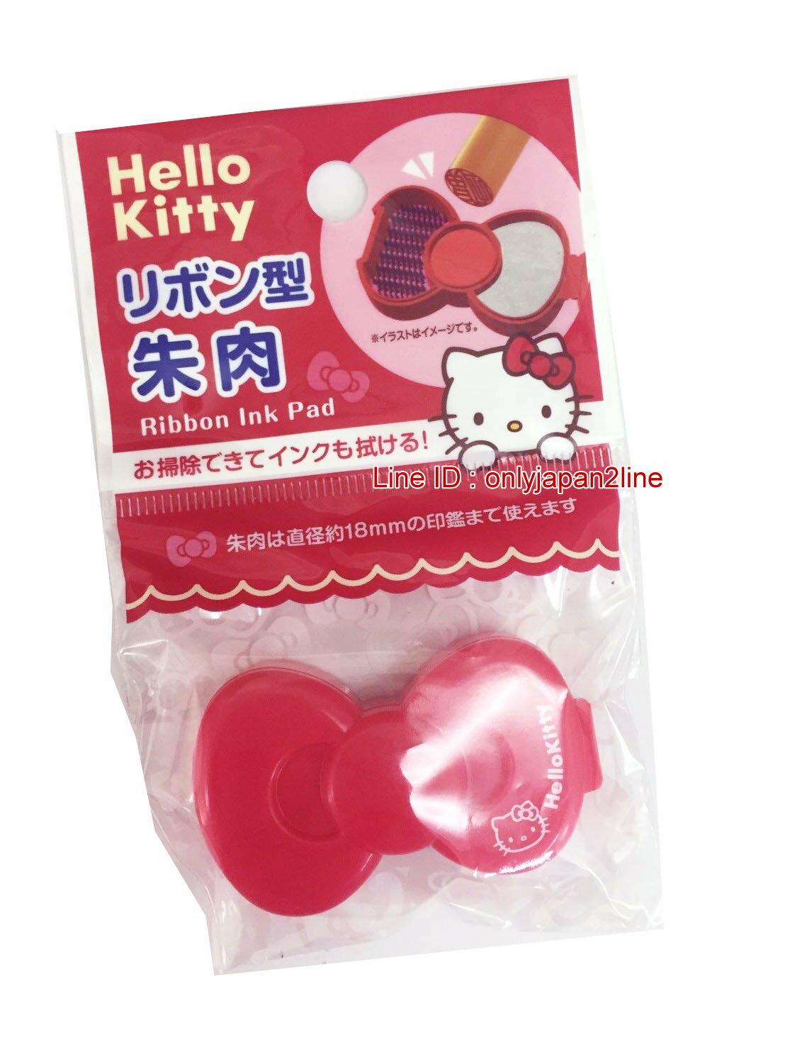 【真愛日本】16121200004印泥盒附清潔刷-KT紅蝴蝶結 三麗鷗 Hello Kitty 凱蒂貓 日本限定 精品百貨 日本帶回