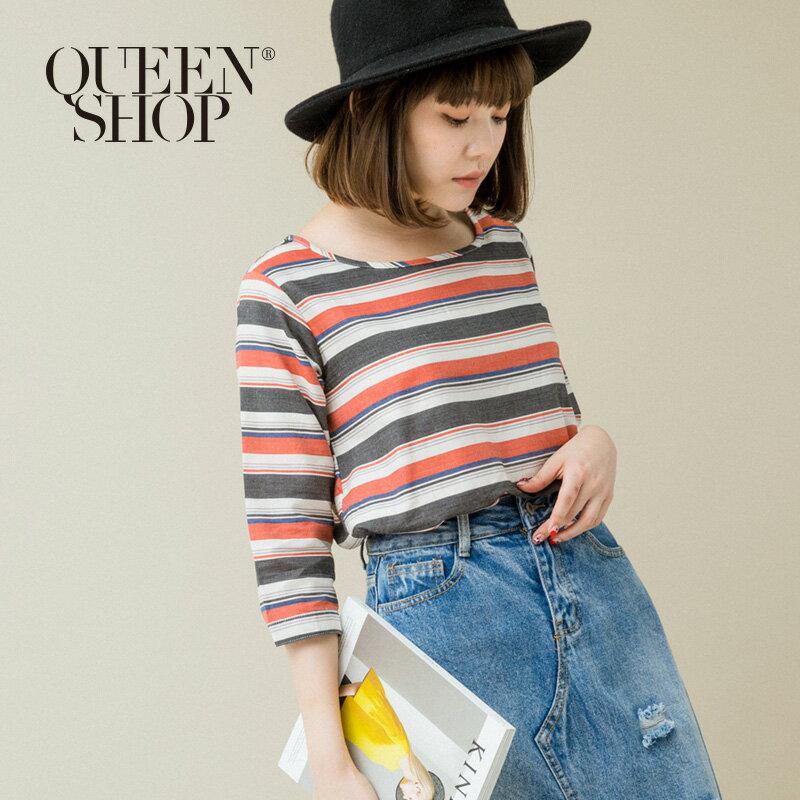 Queen Shop【01120076】多彩配色粗細條紋棉麻上衣 兩色售* *