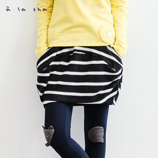 a la sha:àlashaQummi條紋拼接荷包蛋短裙
