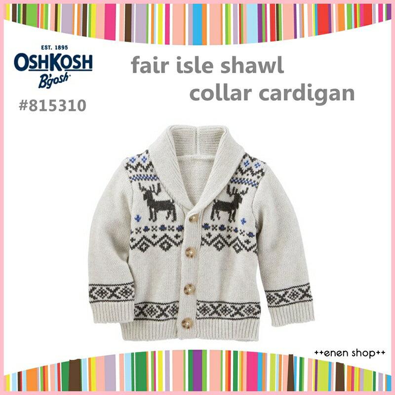 Enen Shop @OshKosh B'gosh 費爾島麋鹿款開襟針織外套 ∥ 12M/18M/24M