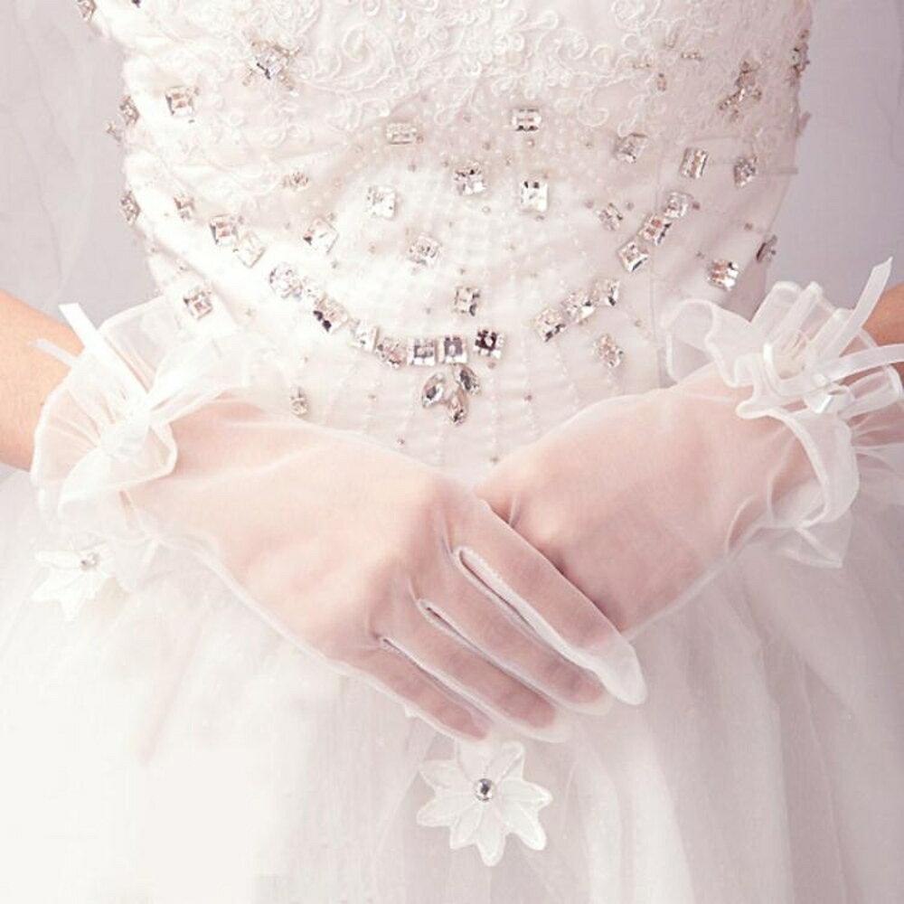 新娘手套  結婚新款婚紗春夏甜美新娘手套婚禮短款白色蕾絲結婚花朵手套 coco衣巷 3