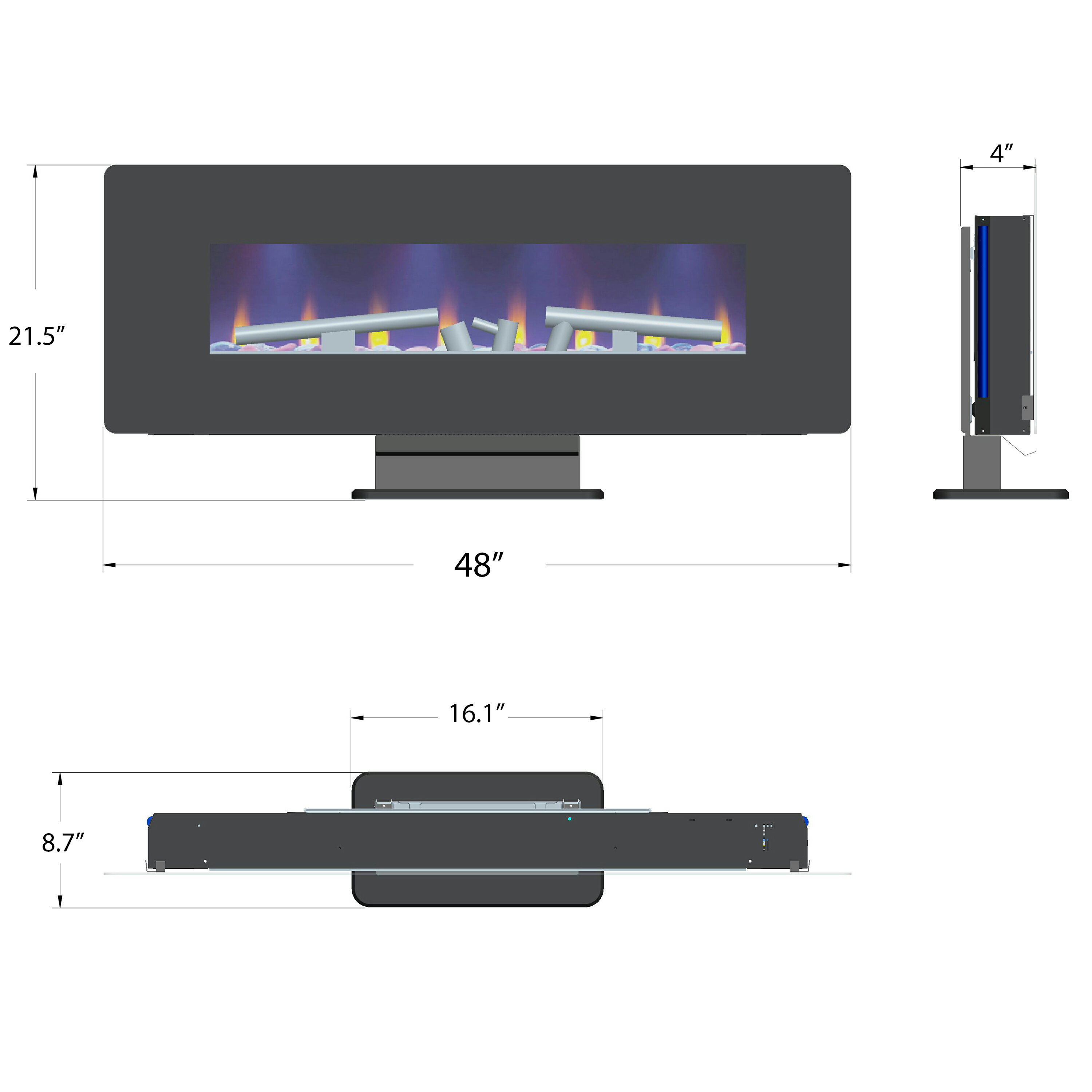 "AKDY 48"" Freestanding Wall Mount Interchangeable Adjustable Flame Electric Fireplace Heater Stove w/ Remote 1"