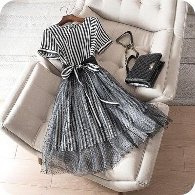 連身裙短袖連衣裙-波點網紗拼接條紋女上衣73sz27【獨家進口】【米蘭精品】