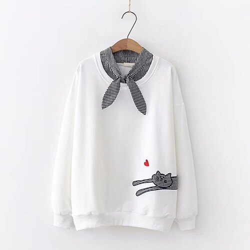*ORead*小貓刺繡愛心格子系帶領長袖衛衣(4色F碼) 3